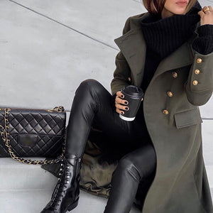 Womens Fashion Solid Colour Long Overcoat