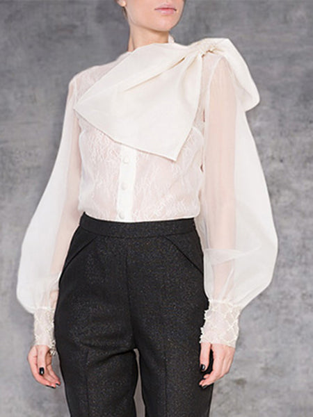 Fashion Round Neck See-through Single-breasted Belted Blouse