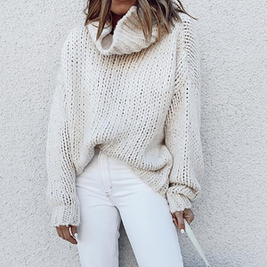 Fashion solid color turtleneck loose sweater