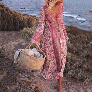Boho Vacation Printed Loose Long Sleeve Dress