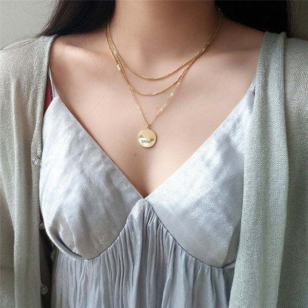 Simple metal round multi-layer necklace