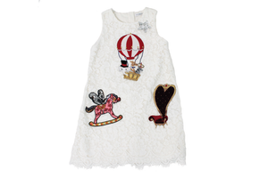 685fdc93c42 Dolce and Gabbana Girls White Fairytale Macrame Lace Dress ...