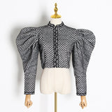 Victoria Ruched Plaid Jacket