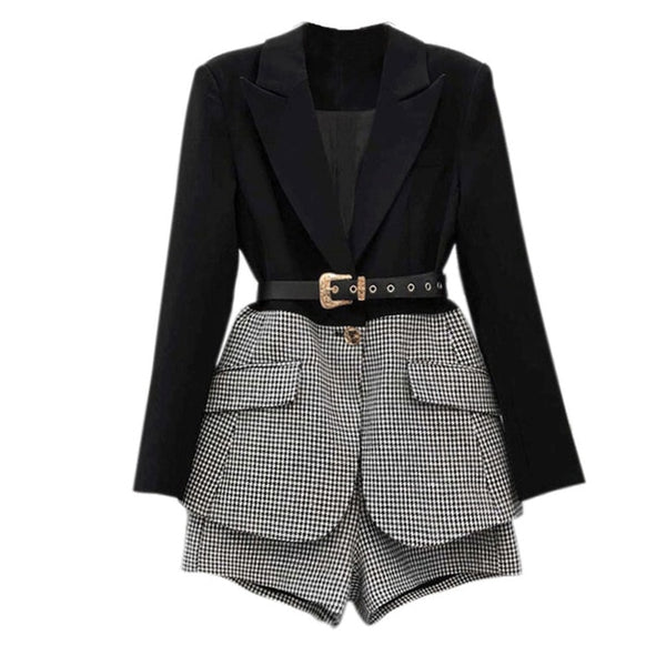 Fiora Single Breasted Black/ Tweed Blazer and Shorts