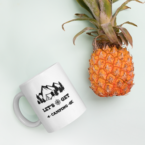 Let's Get Camping Coffee Mug with Black Print