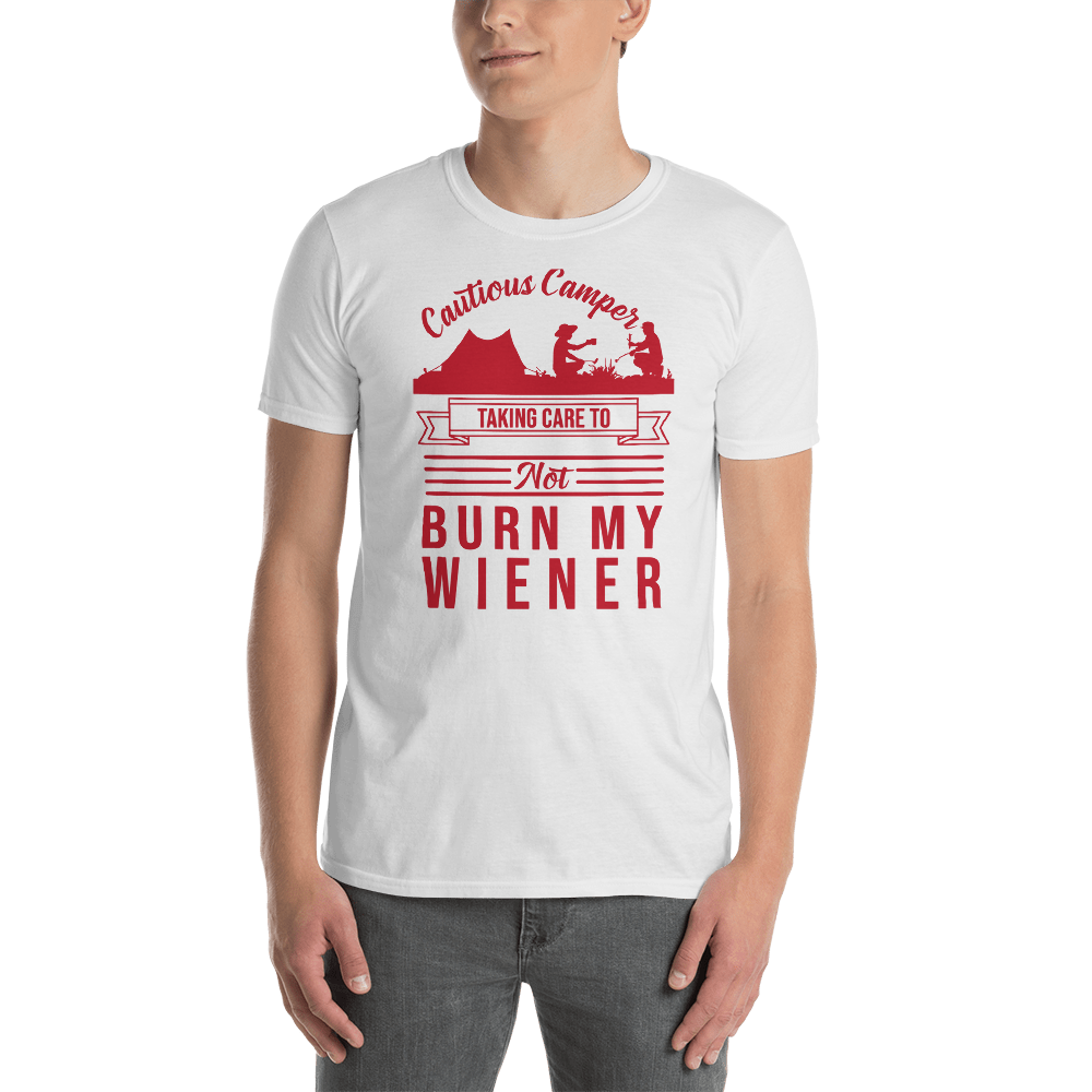 Cautious Camper...  T Shirt in Red