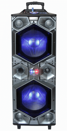 "15"" professional Bluetooth audio speaker with X Bass and volume control party lights"