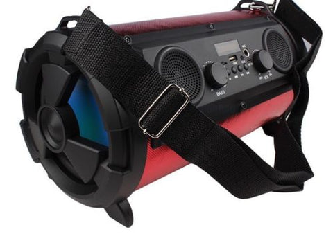 Bazooka style bluetooth speaker loud with strap controls and inputs USB