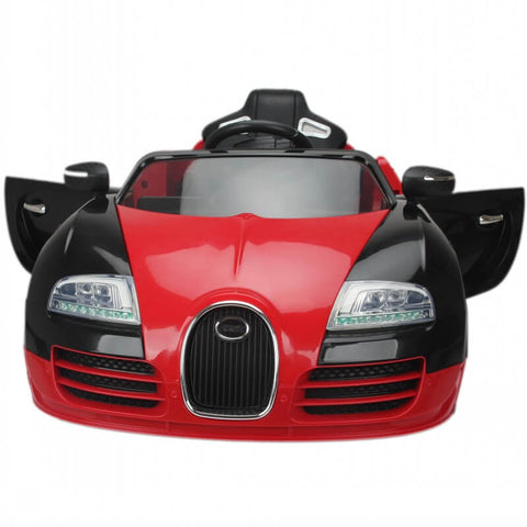 12V Bugatti Veyron Style Kids Ride-On Car With Parental Remote - Red front