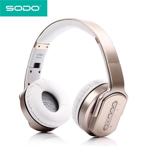 SODO MH2 Headphones 2 in 1 On-ear Headphones and Twist Out Speakers Gold audio controls