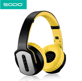 SODO MH2 Headphones 2 in 1 On-ear Headphones and Twist Out Speakers Yellow audio controls