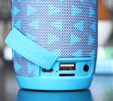 Bluetooth portable speaker cloth blue triangle color with durable hook sleek look loud sound usb input aux input TF SD Card