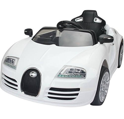 12V Bugatti Veyron Style Kids Ride-On Car With Parental Remote - White front