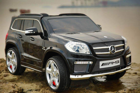 Licensed 12V Mercedes-Benz GL63 AMG Ride on Car For Kids - SUV, Remote Control, Opening doors, MP3, LED lights, Power Electric Car - Black outside