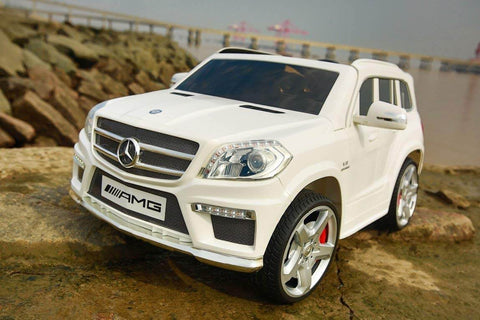 Licensed 12V Mercedes-Benz GL63 AMG Ride on Car For Kids - SUV, Remote Control, Opening doors, MP3, LED lights, Power Electric Car - White outside