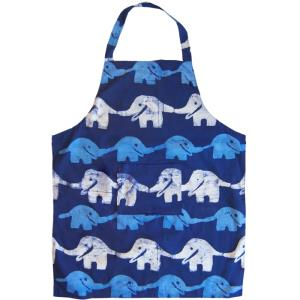 Fair Trade Adult Home Apron - Blue Elephant Print