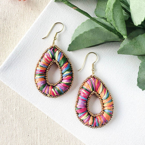 WorldFinds Candied Pillow Teardrop Earrings - Handmade Fair Trade