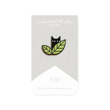 Enamel Pin - Cat in Leaves