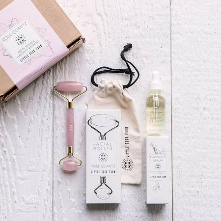 Rose Quartz Roller + Elasticity Serum Set