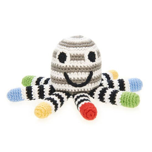 Black + White Octopus Baby Rattle