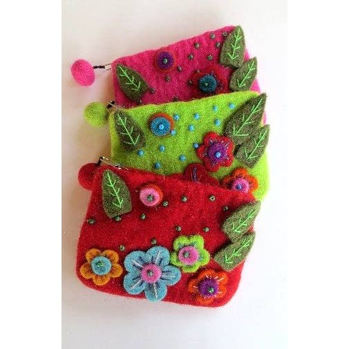 Felted Flower Coin Purse