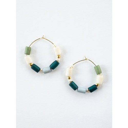 Emily Hoop Earrings Blue - Mata Traders