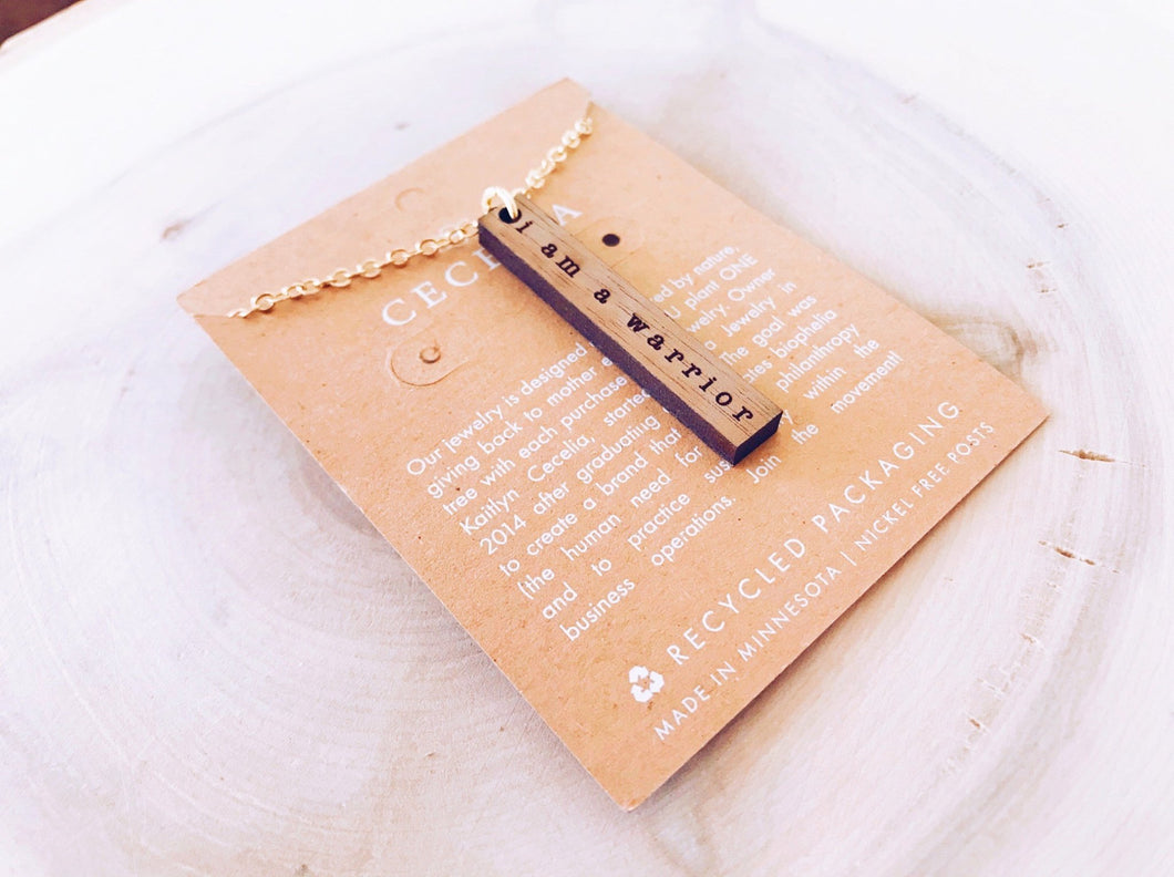 Stamped Affirmation Wooden Necklace with Gold Plated Chain