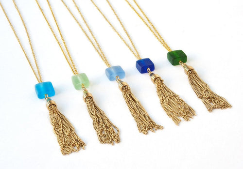 Cube Long Tassel Necklace