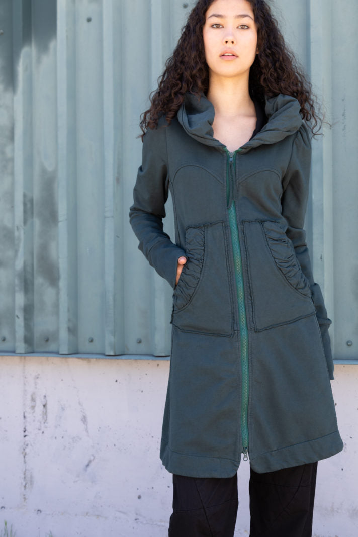 Long Cloak Hoodie - Bottle Green