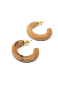 Wood Teak Mini Hoops