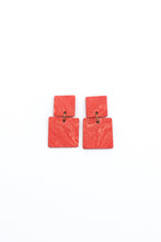 Load image into Gallery viewer, Square Marble Earrings - Red