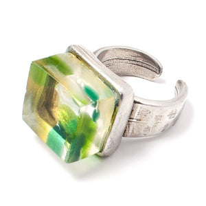 Mosaic Cube Ring - Silver