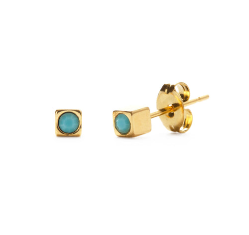 Amano Studio - Tiny Gold Cube Stud Earrings with Czech Turquoise Crystal