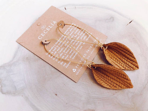Pinched Leaf Drop Earrings