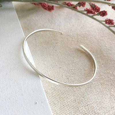 Worldfinds Minimalist Simple Band Cuff Bracelet - Silver
