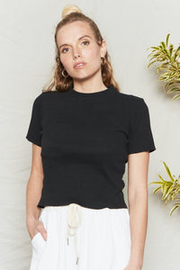 Back Beat Co. Organic Cotton Jazz Mock Neck Tee - Vintage Black