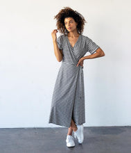 Load image into Gallery viewer, Fair Trade Organic Cotton Midi Length Wrap Dress - Grey Black Stripe