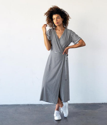 Fair Trade Organic Cotton Midi Length Wrap Dress - Grey Black Stripe