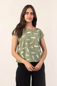 Keang Top - Hand Painted Dash Print