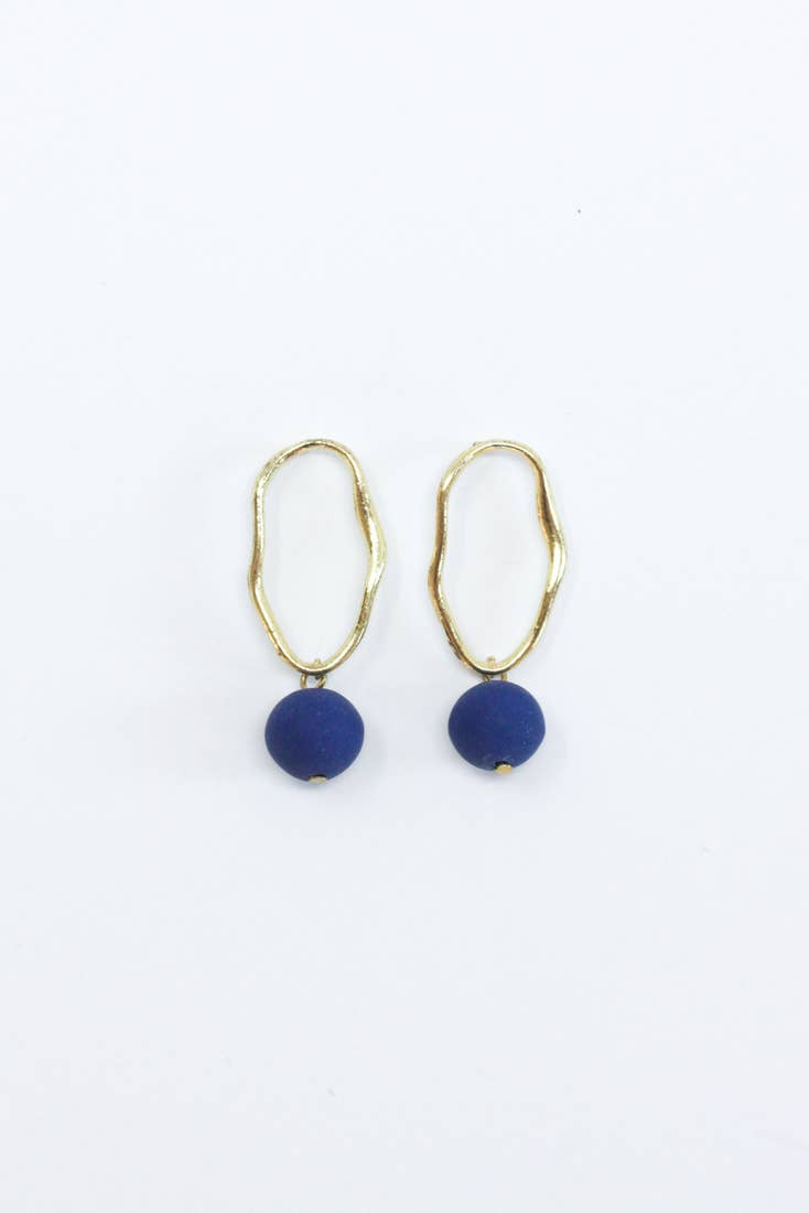 Fluid Form Earrings - Ultramarine