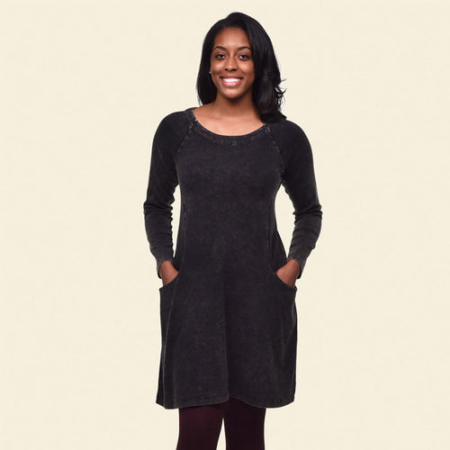 Raglan Rib Dress - Black