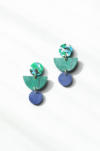 Geo Clay Earrings - Rainforest