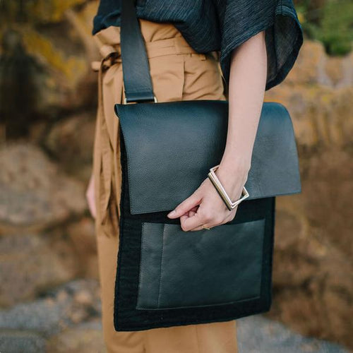 Felt + Leather Crossbody