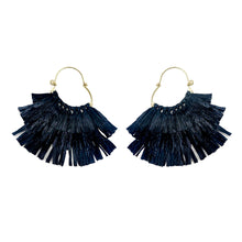 Load image into Gallery viewer, Ruffled Rafia Hoop Earrings