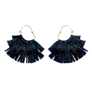 Ruffled Rafia Hoop Earrings