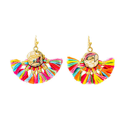 Kantha Rainbow Fan Earrings
