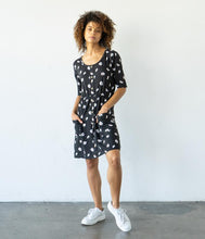 Load image into Gallery viewer, Fair Trade Organic Cotton Dress - Black with White Daisy Print