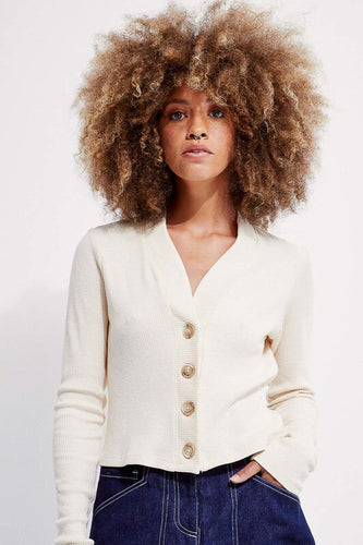 Back Beat Co. Hemp Shrunken Cardigan - Creme