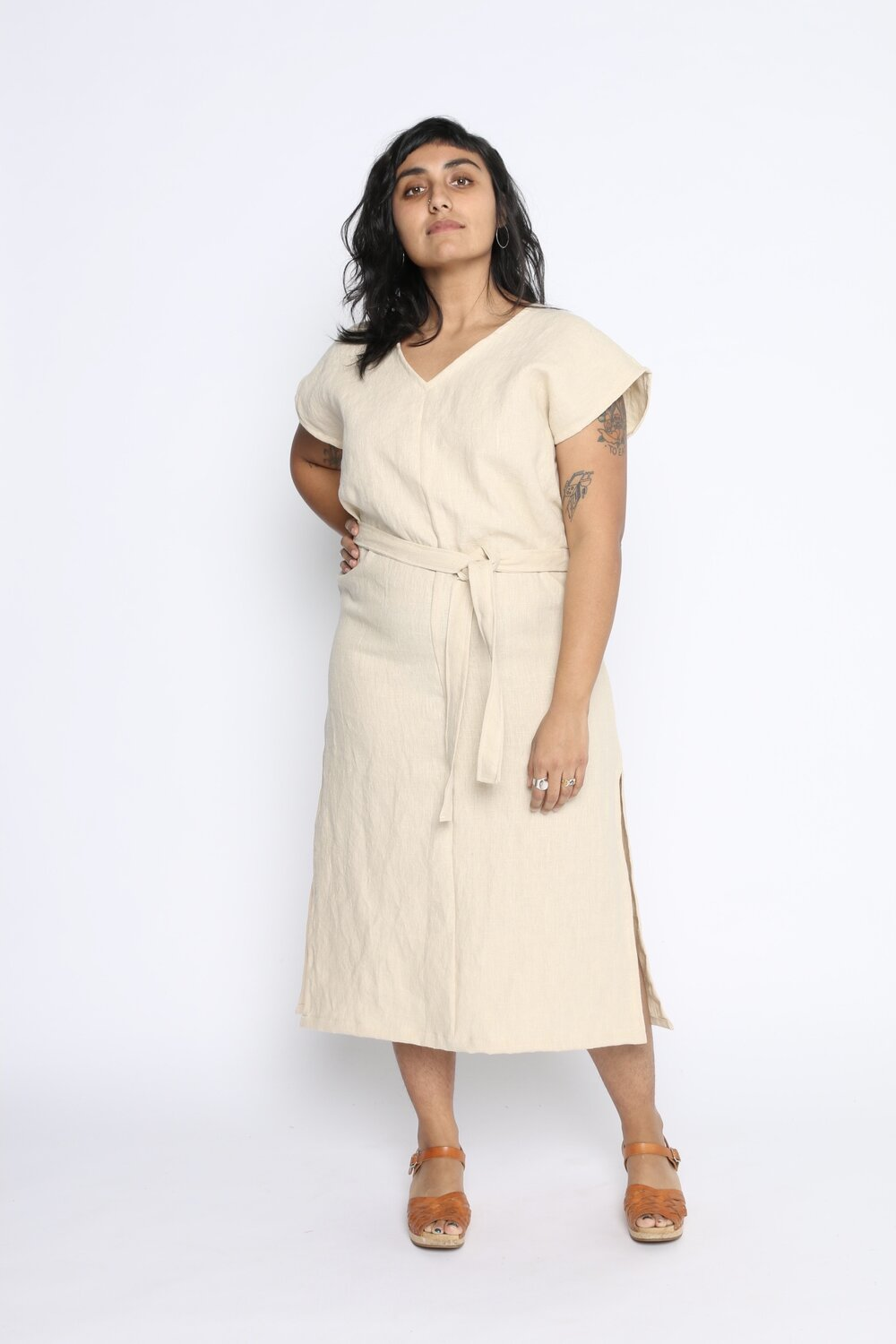 Conscious Clothing Mural Midi Dress with Belt - Cream Linen