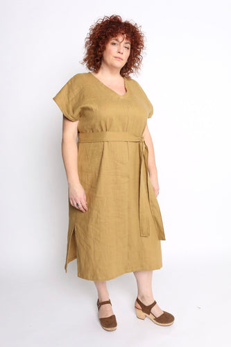 Conscious Clothing Mural Midi Dress with Belt - Wheat Linen